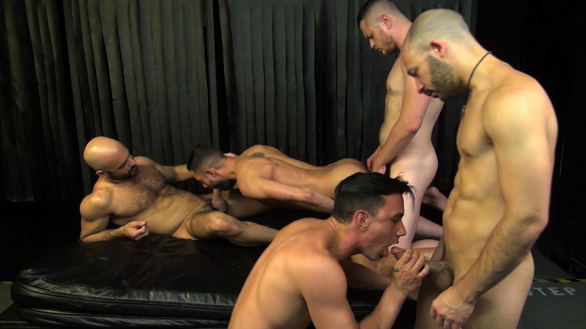 Raw Fuck Club Blue Bailey and Dylan Strokes and Adam Russo and Dean Brody and Jay Brix Bareback Orgy Amateur Gay Porn 1 Adam Russo Getting Double Penetrated At A Bareback Sex Party